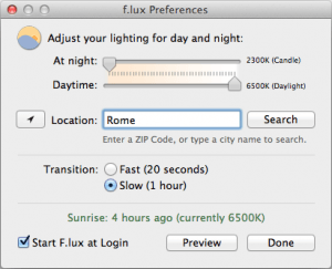 F.Lux preferences