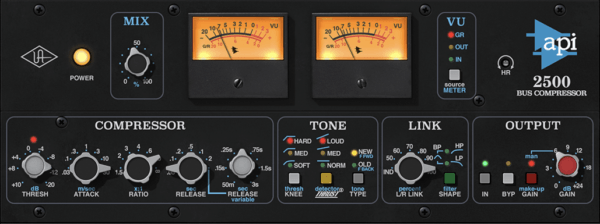 UAD API 2500 compressor - best bus compressor plugins